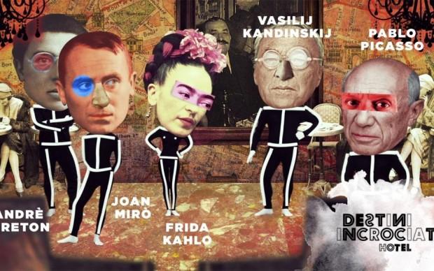 Frida va a Parigi e incontra i surrealisti. Nell'immagine Andrè Breton, Vasilij Kandinskij, Joan Mirò, e Pablo Picasso