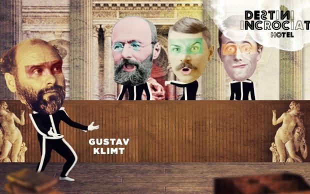 Klimt difende in parlamento i bozzetti delle sue allegorie