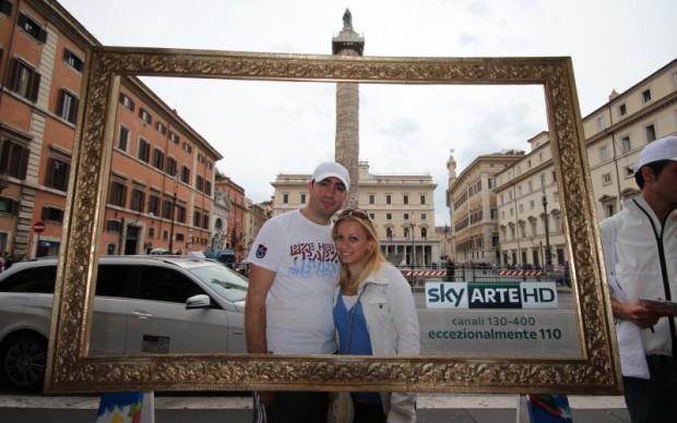 Roma, Sky Arte HD in piazza Colonna
