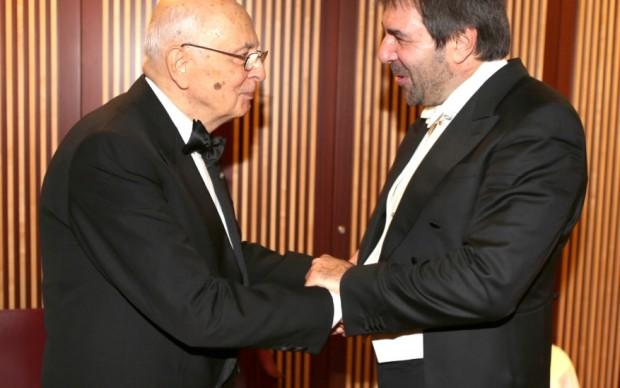 Giorgio Napolitano con Daniele Gatti - foto Brescia/Amisano © Teatro alla Scala