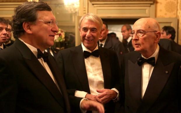 Il Sindaco di Milano Giuliano Pisapia con Manuel Barroso e Giorgio Napolitano - foto Brescia/Amisano © Teatro alla Scala