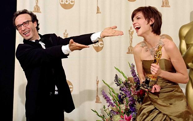 Hilary Swank con Roberto Benigni
