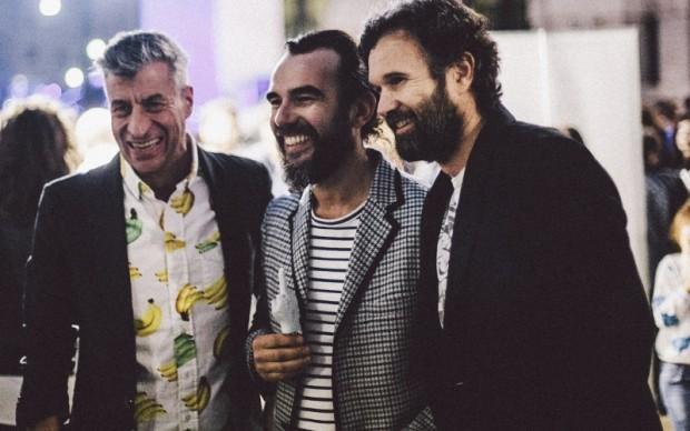 Maurizio Cattelan con Yuri Ancarani e Carlo Cracco