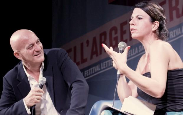 Festival dell'Argentiera 2014, Claudio Bisio con Geppi Cucciari - foto Gianfranco Manai