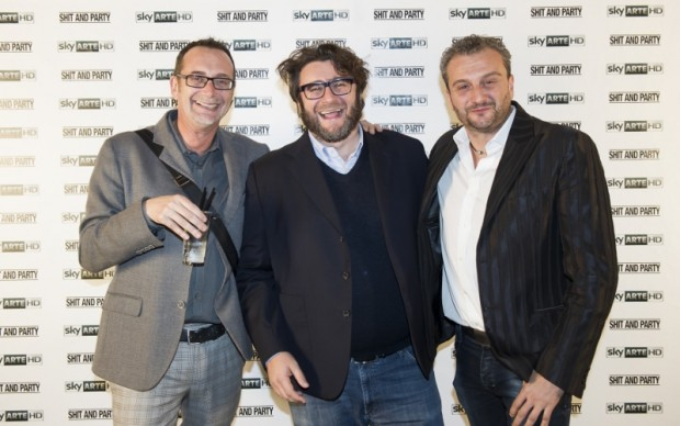 Alex Angi e Kicco, Cracking Art Group. Al centro Daniele Basso, GlocalDesign © Giorgio Perottino