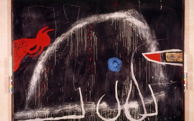 Joan Mirò, Senza titolo, 1974 circa. Olio, acrilico e gessetto su tela, 270,5 x 355 cm. Fundació Pilar i Joan Miró a Mallorca. © Successione Miró by SIAE 2014 Foto: © Joan Ramon Bonet & David Bonet