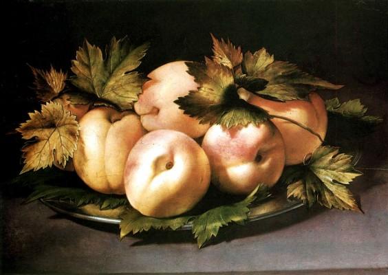 Ambrogio Figino, Natura morta: piatto con pesche, olio su tavola