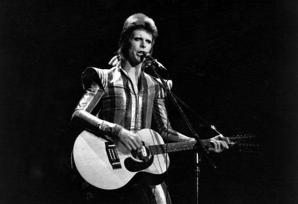 3rd July 1973: David Bowie performs his final concert as Ziggy Stardust at the Hammersmith Odeon, London. The concert later became known as the Retirement Gig. (Photo by Express/Express/Getty Images)