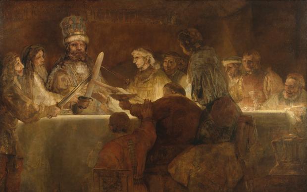Rembrandt van Rijn, La Cospirazione dei Batavi, 1661-1662, olio su tela. Royal Swedish Academy of Fine Arts, Stoccolma