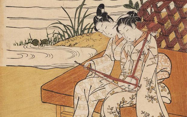 Suzuki Harunobu, Una coppia suona lo stesso kokyû, 1768–69, stampa su legno