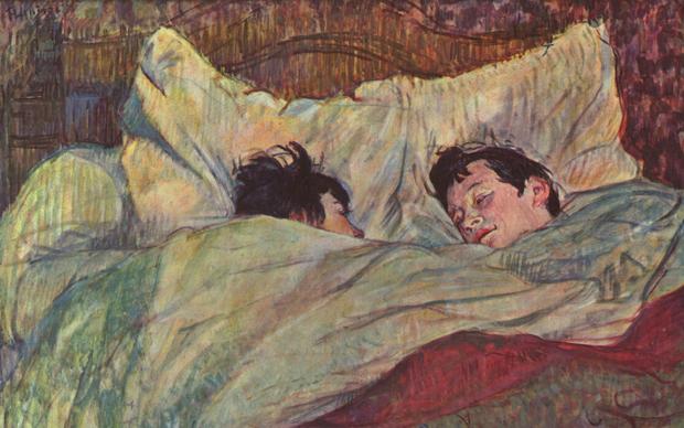 Henri de Toulouse-Lautrec, A letto, 1892, olio su cartone