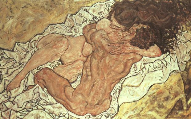 Egon Schiele, L'abbraccio, 1917, olio su tela