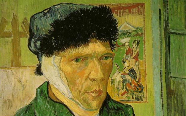 Vincent Van Gogh, (particolare) Autoritratto con l'orecchio bendato, 1889