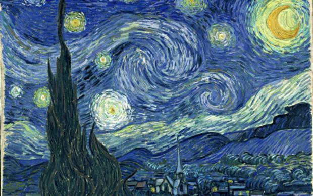 Vincent Van Gogh, (particolare) Notte stellata, 1889