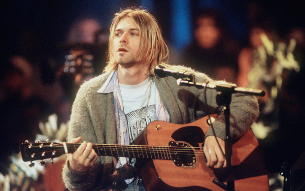 Kurt Cobain of Nirvana during the taping of MTV Unplugged at Sony Studios in New York City, 11/18/93