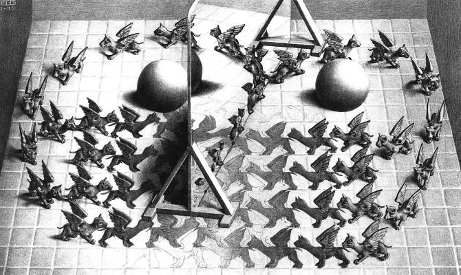 Maurits Cornelis Escher, Specchio magico, 1946, litografia, 279 x 445 mm, M.C. Escher Foundation