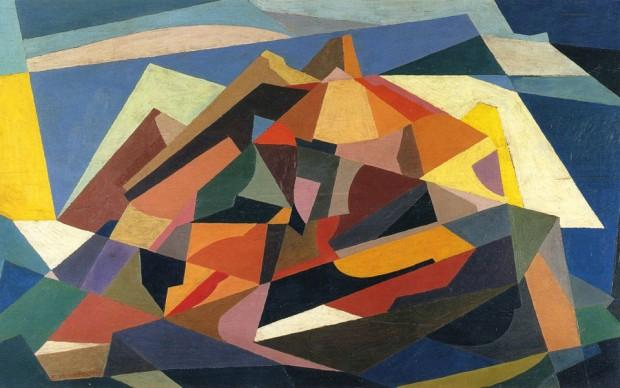 Enrico Prampolini, Simultaneità architettonica, 1921 ca, olio su tavola, cm 50,8x82,4, collezione M. Carpi Roma, inv. 1261