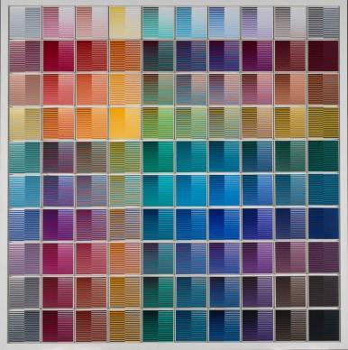 Dadamaino, La ricerca del colore – 100 elementi, 1966-68, acrilico su tela, cm 20x20 cad, Museo d'Arte Contemporanea e Moderna Trento e Rovereto
