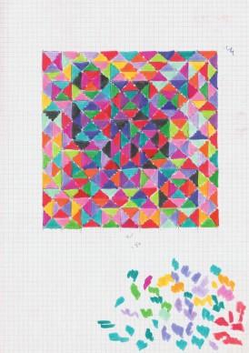 Ottavio Missoni, Studio per arazzo, s.d, matita colorata su carta quadrettata. Fondazione Ottavio e Rosita Missoni.