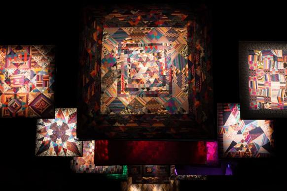 Veduta della Sala degli Arazzi allestita per la mostra al MA*GA. Appesi, gli arazzi di Ottavio Missoni. Photo Marco Cappelletti