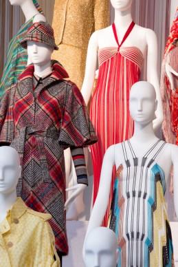 Dettaglio dell'installazione Le forme della moda, allestita per la mostra al MA*GA con abiti Missoni dal 1953 al 2014. Photo Marco Cappelletti