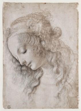Leonardo da Vinci, Studio di volto femminile (1468-1475 circa), Pietra nera (o punta di piombo), penna, pennello inchiostri marrone e grigio, biacca (parzialmente ossidata), su carta preparata avorio; 281 x 199 mm Firenze, Gabinetto Disegni e Stampe degli Uffizi - Soprintendenza Speciale per il Polo Museale Fiorentino