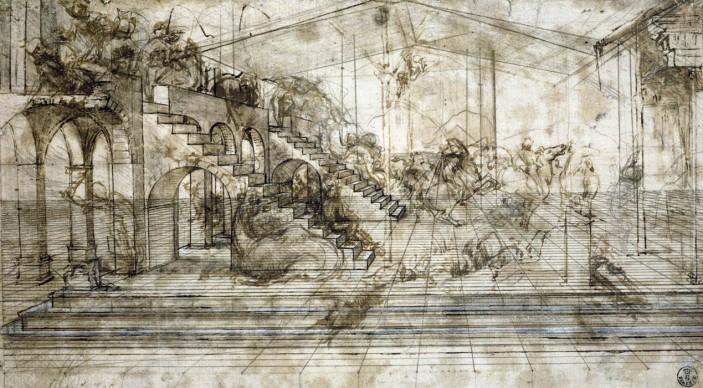 Leonardo da Vinci, Scenario architettonico e rissa di cavalieri (studio prospettico per l'Adorazione dei Magi) (1481 circa), Penna e inchiostro ferrogallico diluito, tracce di punta metallica, lumeggiature a biacca (carbonato basico di piombo) parzialmente ossidata, stilo e compasso su carta preparata color bruno chiaro; 164 x 290 mm, Firenze, Gabinetto Disegni