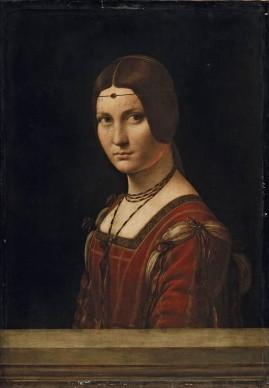 "Leonardo da Vinci, Ritratto di dama (La Belle Ferronnière o ""Presunto ritratto di Lucrezia Crivelli"") (1493 -1495 circa), Olio su tavola di noce; 63 x 45 cm, Paris, Musée du Louvre, Département des Peintures, Collection de François Ier"