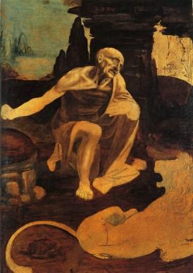 Leonardo da Vinci, San Girolamo (1485-1490 circa), olio e tempera su tavola di noce; 102,8 x 73,5 cm, Città del Vaticano, Musei Vaticani