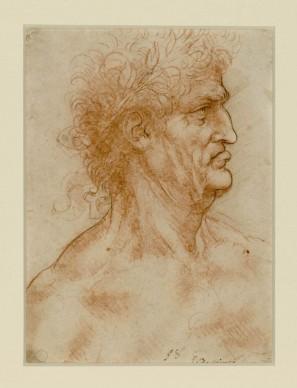 Leonardo da Vinci, Testa maschile di profilo verso destra coronata di alloro (1506-1508 circa) matita rossa ripassata a penna e inchiostro su carta bianca; 222 x 175 mm