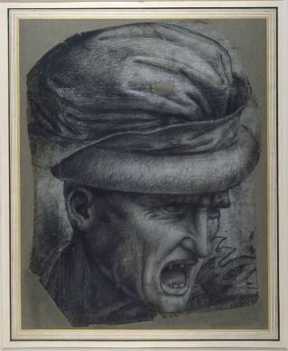 Leonardo da Vinci, Testa di un guerriero dalla Battaglia d'Anghiari (inizio del XVI secolo), gesso nero su carta grigiastra, composto di quattro fogli (di forma irregolare) incollati insieme e fissati su un foglio di supporto; 507 x 404 mm; foglio centrale, 392 x 295 mm (assi principali), The Ashmolean Museum, Oxford. Bequeathed by Francis Douce, 1834