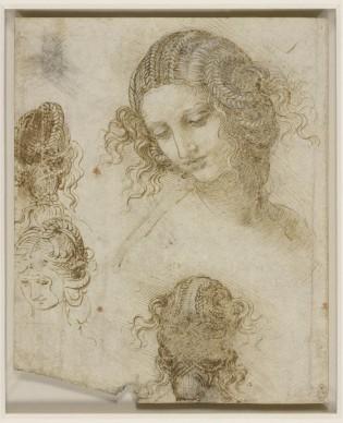 Leonardo da Vinci, Studi di testa femminile (1505-1507), matita nera, penna e inchiostro su carta; 198 x 166 mm, The Royal Collection / HM Queen Elizabeth II
