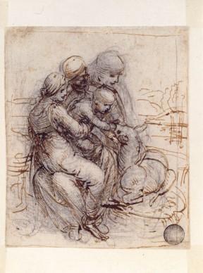 Leonardo da Vinci, Madonna col Bambino, sant'Anna e un agnello (1500-1501 circa), Punta di piombo, penna, inchiostro bruno, tracce di matita nera su carta bianca; 122 x 100 mm, Venezia, Gallerie dell'Accademia, Gabinetto dei Disegni e Stampe