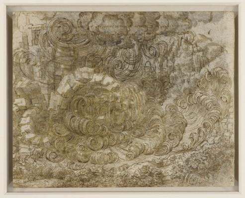 Leonardo da Vinci, Diluvio (1517-1518 circa) matita nera, penna e due inchiostri con acquerellature marroni su carta non preparata; 162 x 203 mm The Royal Collection / HM Queen Elizabeth II