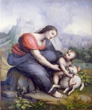 Bottega milanese di Leonardo da Vinci, Madonna col Bambino e l'agnello (1515-1520 circa), olio su tavola di pioppo; 37 x 30 cm, Milano, Museo Poldi Pezzoli