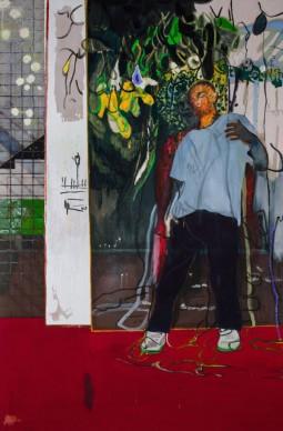 Peter Doig, Night Studio (STUDIOFILM &RACQUET CLUB), 2015, Olio su tela 296 x 200 cm, Courtesy l'artista e Michael Werner Gallery