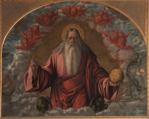 Vittore Carpaccio e bottega, Padre Eterno benedicente fra cherubini, olio su tela, 140x180 cm, 1520 circa, Parrocchia dei Santi Nabore e Felice, Sirtori