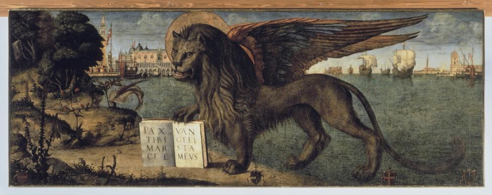 Vittore Carpaccio, Leone marciano, 1516, 138x 367 cm, Palazzo Ducale, Venezia