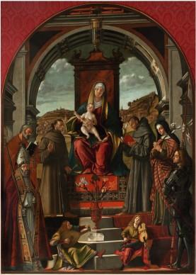 Vittore Carpaccio, Madonna in trono con il Bambino e sei santi, Pala di Pirano, 1518, olio su tela, 280x210 cm, Basilica di S. Antonio, Padova