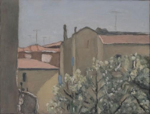 Giorgio Morandi, Cortile di via Fondazza, 1958, Vitali n. 1116. Olio su tela, cm 45,5 x 50. Museo Morandi   Istituzione Bologna Musei
