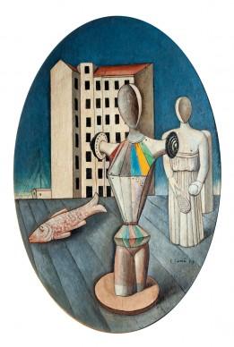 Carlo Carrà, Ovale delle apparizioni, 1918. Olio si tela, cm 92 x 61. Galleria Nazionale d'Arte Moderna, Roma