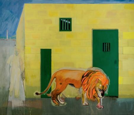 Peter Doig, Young Lion, 2015, Olio su tela, 121 x 162 cm, Courtesy l'artista e Michael Werner Gallery