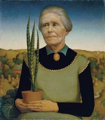 Grant Wood, Woman With Plants (his mother), 1929