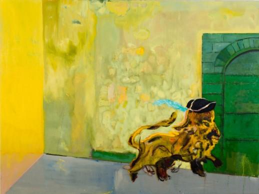 Peter Doig, Rain in the Port of Spain (White Oak), 2015, tempera su tela, 301 x 352 cm, Courtesy l'artista e Michael Werner Gallery