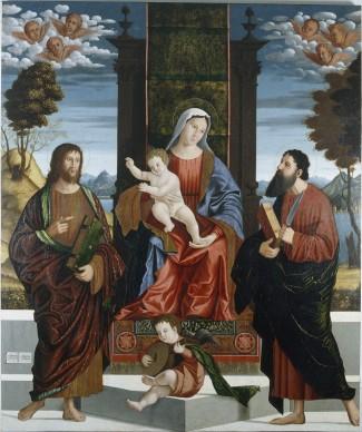 Benedetto Carpaccio, Madonna in trono con il Bambino in trono e i santi Nicola di Bari e Giovanni Battista, olio su tela, 200X167,5 cm, Cattedrale dell'Assunta e di San Nazario, Capodistria