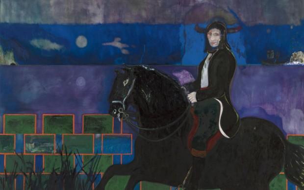 Peter Doig, Horse and Rider, 2014, olio e tempera su tela, 240 x 360 cm, Courtesy l'artista e Michael Werner Gallery