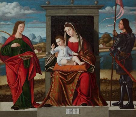 Benedetto Carpaccio, Madonna con il Bambino e i santi Lucia e Giorgio, olio su tela, 123x141cm, Museo Civico Sartorio, Trieste