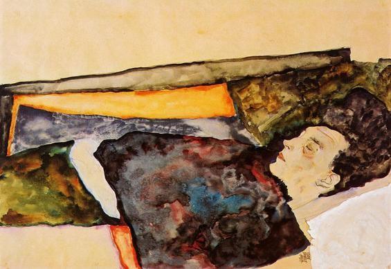 Egon Schiele, La madre dell'artista, addormentata, 1911