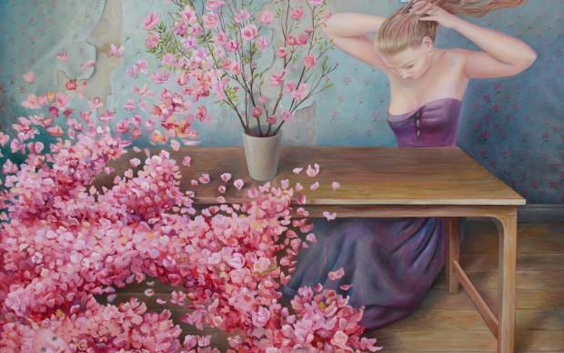Ilaria-del-Monte-Roses-from-Delos,-olio-su-tela,-80x90cm,2014