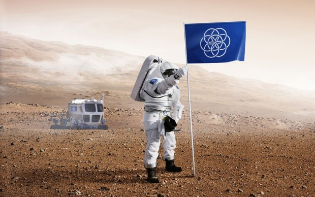 Oskar Pernefeldt bandiera della terra su marte